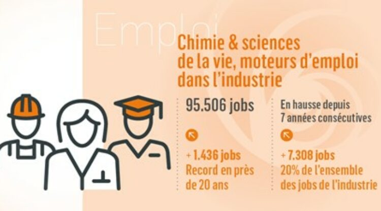 Chiffres clés en détail : le secteur de la chimie et des sciences de la vie représente 1 emploi industriel sur 5